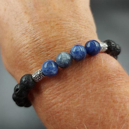 Lava Bead Bracelet with Sodalite
