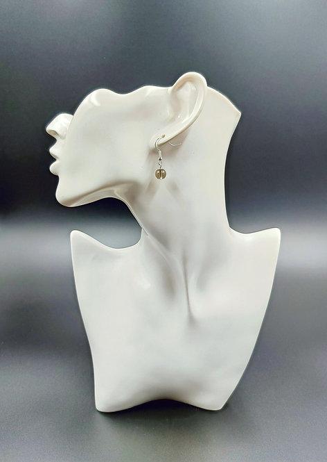 Silver Plated Smoky Quartz Earrings