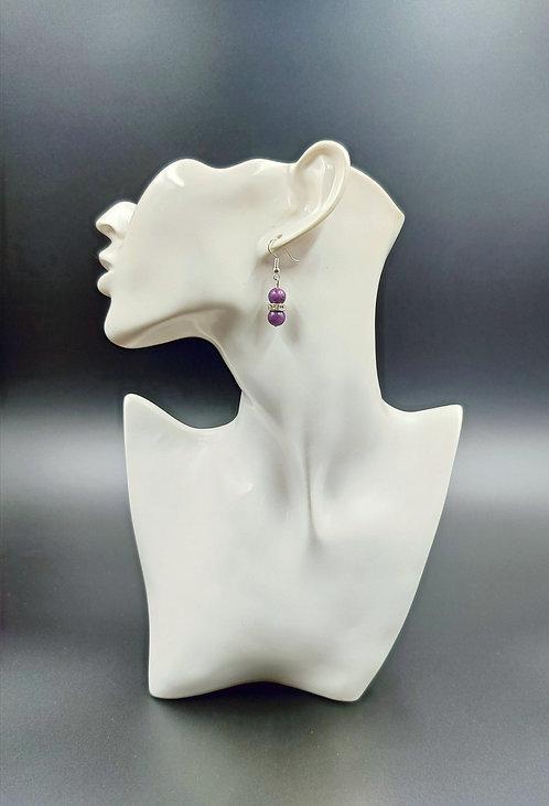 Silver Plated Lepidolite Earrings & Silver Plated Rhinestone