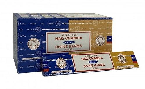 Satya Nag Champa and Divine Karma Incense Sticks 16g
