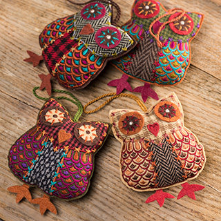 Hanging Tweed Owl Decoration
