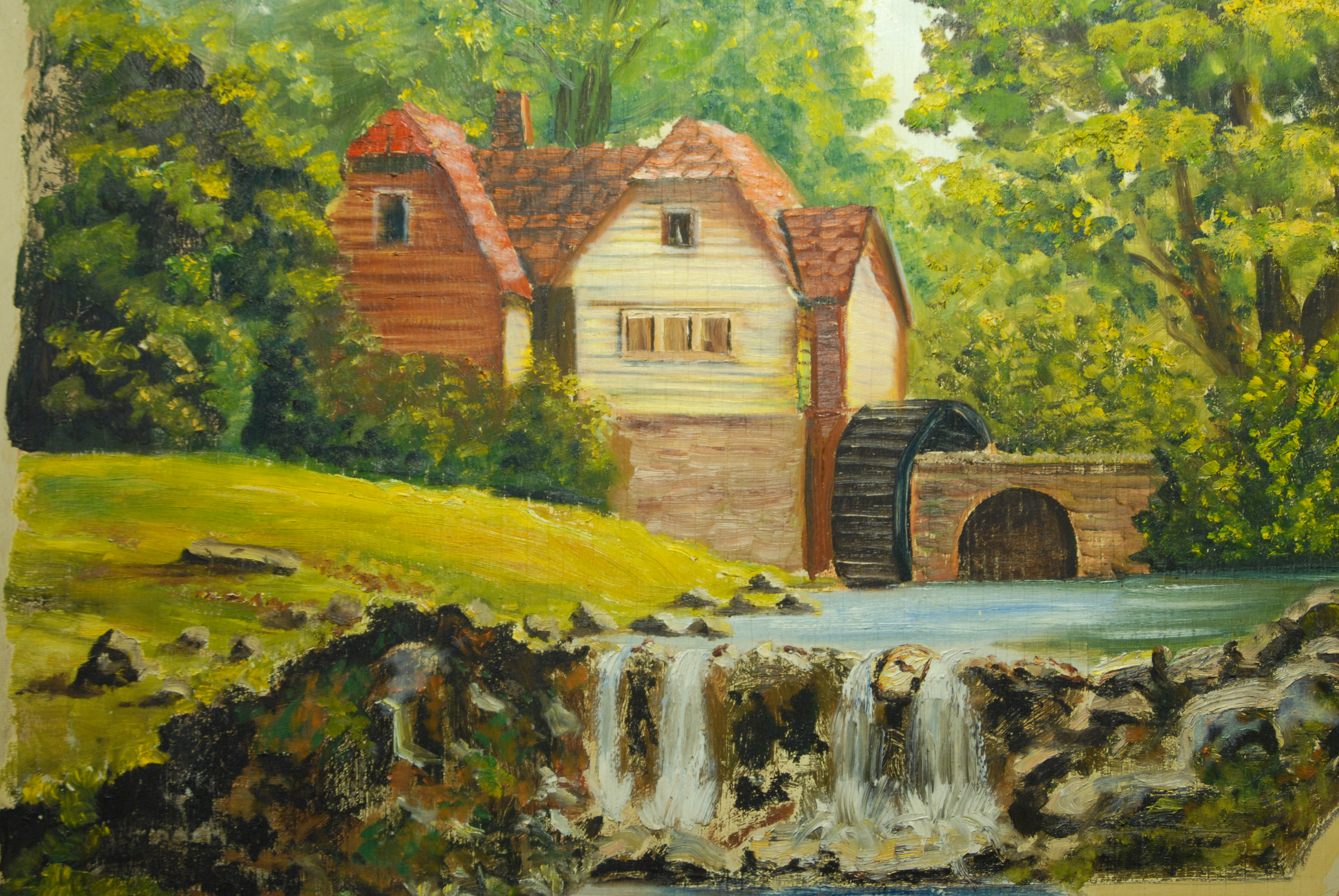 Cottage by waterfall