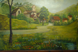 Farm by stream (hor)