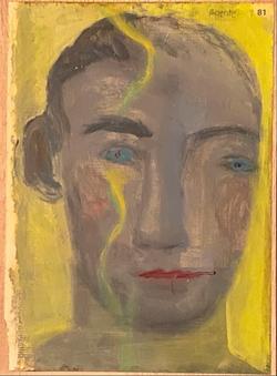 Páginas amarillas, cabezas 81, Oil on paper on wood, 30.5 x 22.5 cm