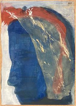 Páginas amarillas, cabezas 207, Oil on paper on wood, 30.5 x 22.5 cm