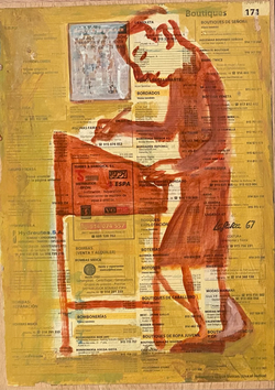 Páginas amarillas, oficios 171, Oil on paper on wood, 30.5 x 22.5 cm