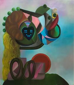 Queen of Instagram Hearts, 2021, Oil on linen, 125 x 110 cm