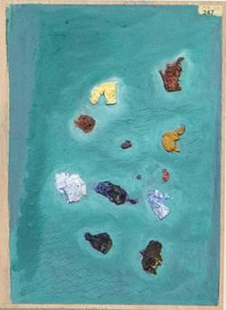 Páginas amarillas, islas 247, Oil on paper on wood, 30.5 x 22.5 cm