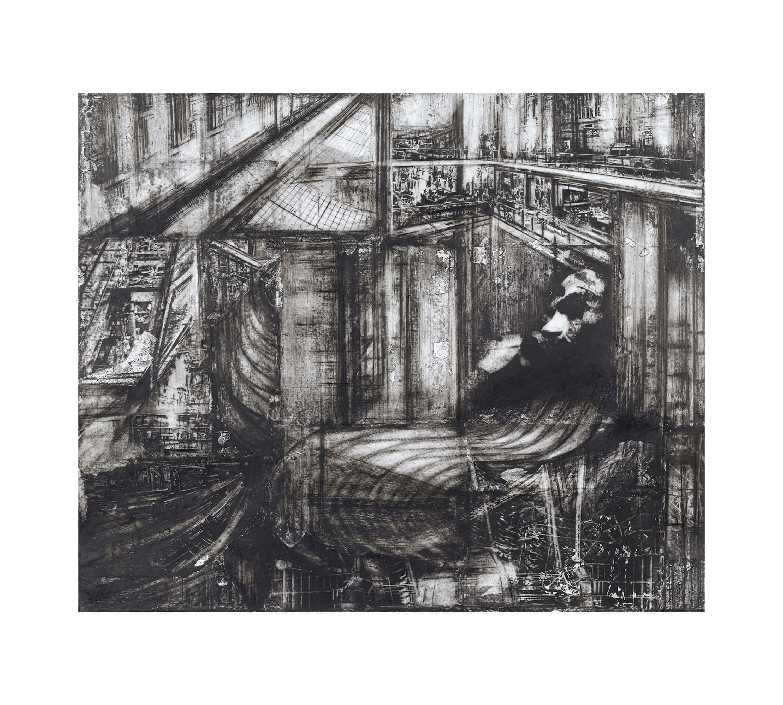 38_Acrophobia_19x22_ ink,charcoal,collag