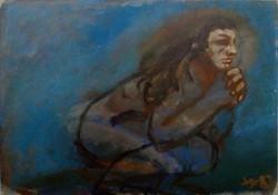 Mujer agachada