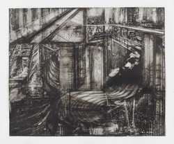 21_Acrophobia_2013_14x17in_ink, charcoal, collage on paper