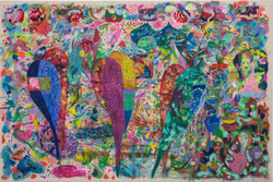 Untitled, 2021 Pastel, watercolor, ink, acrylic paint and marker on canvas 80 x 120 cm
