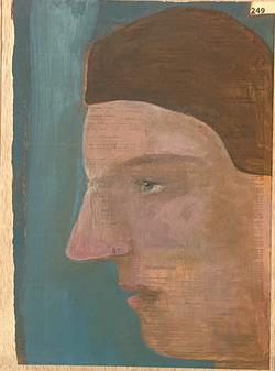 Páginas amarillas, cabezas 249, Oil on paper on wood, 30.5 x 22.5 cm