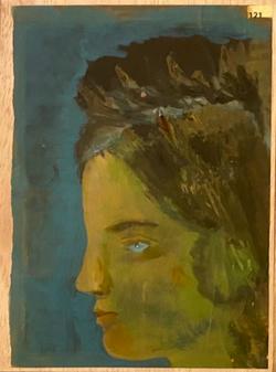Páginas amarillas, cabezas 212, Oil on paper on wood, 30.5 x 22.5 cm