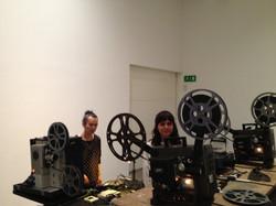 24- Raha Raissnia with Aki Onda-set up for performance-2014