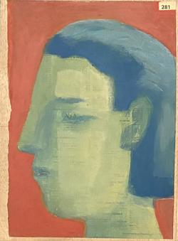 Páginas amarillas, cabezas 281, 2020, Oil on paper on wood, 30.5 x 22.5 cm