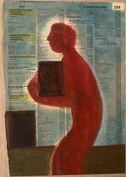 Páginas amarillas, oficios 259, 2020, Oil on paper on wood, 30.5 x 22.5 cm