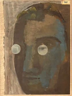 Páginas amarillas, cabezas 197, Oil on paper on wood, 30.5 x 22.5 cm