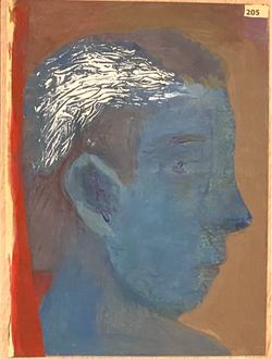 Páginas amarillas, cabezas 205, Oil on paper on wood, 30.5 x 22.5 cm