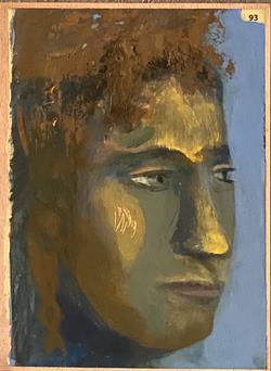 Páginas amarillas, cabezas 93, Oil on paper on wood, 30.5 x 22.5 cm