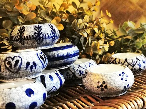 Blue & White Crackle Glaze Tealight Holders