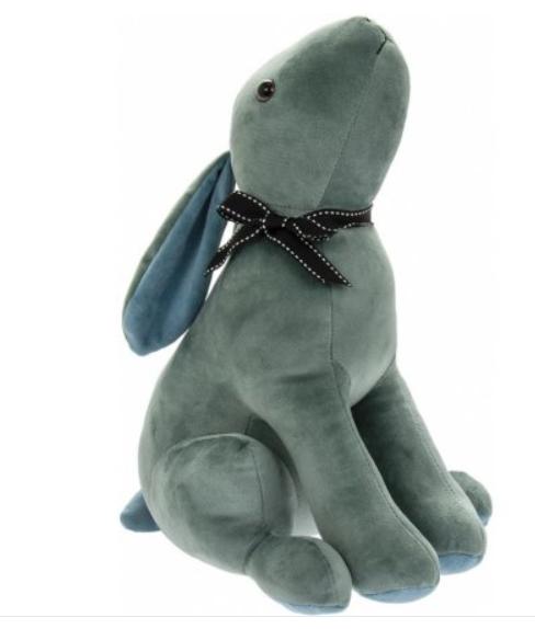 Blue Velveteen Hare Doorstop