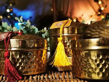 Tasselled Metal Tin Candles