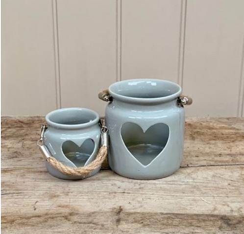 Grey Heart Tealight Jar