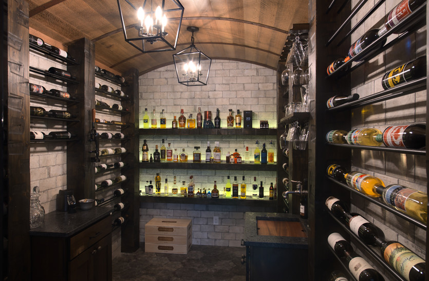 Custom Wine Cellar with Timber Frame Elements