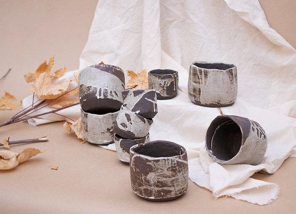 Black stoneware planters