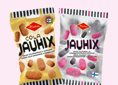 Halva - Jauhix pussien pakkausdesign