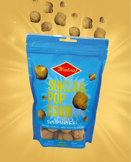Halva - Suklaa Popcorn Salmiakki - Pakkausdesign