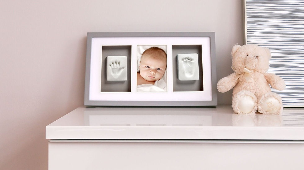Pearhead Baby Prints Deluxe Frame Grey