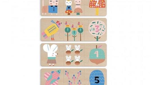 Wood Mom & Baby Trio Puzzle 6 pk
