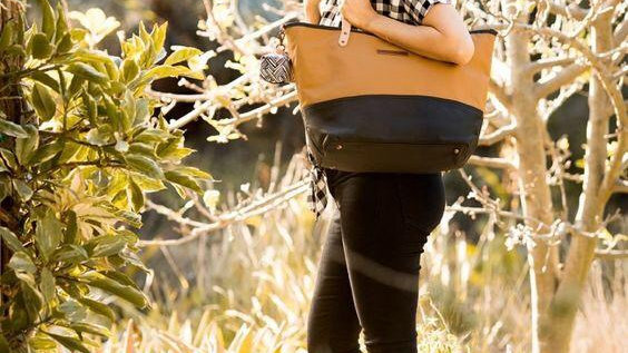 Petunia Picke Bottom Downtown Tote Diaper Bag Caramel/Black