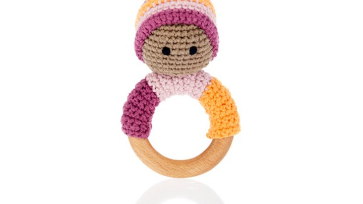 Pebble Pixie Wooden Ring  Rattle