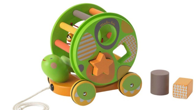 Moulin Roty Papoum Pull Along Shape Sorter Turtle