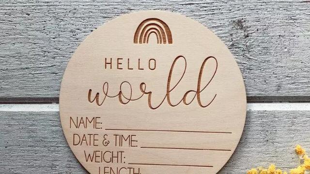 Hello World Birth Announcement Keepsake