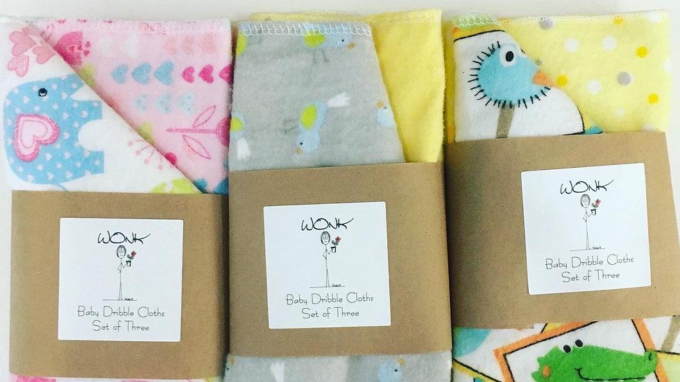 WONK Baby Dribble Cloths 3 pk