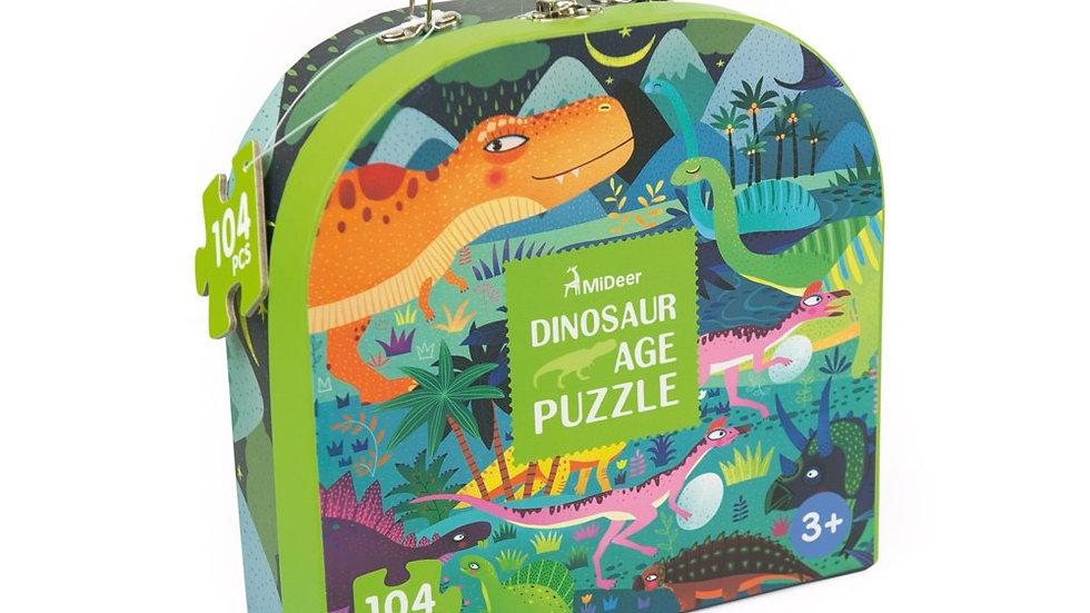Mideer Luggage Puzzle Dinosaur Age 104 pc