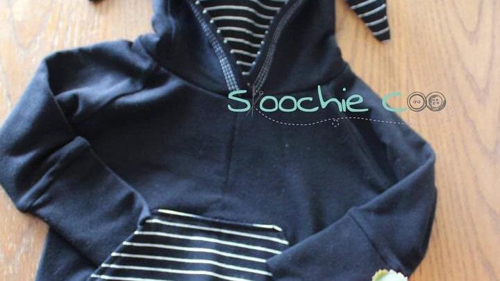 Skoochie Coo 3-12m Black Bunny Ear Hoodie