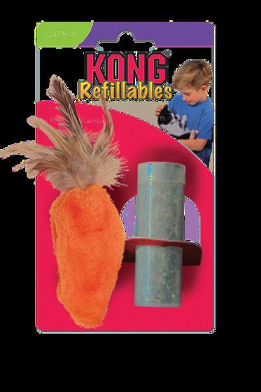 KONG Cat Refillable Catnip Feather Top Carrot