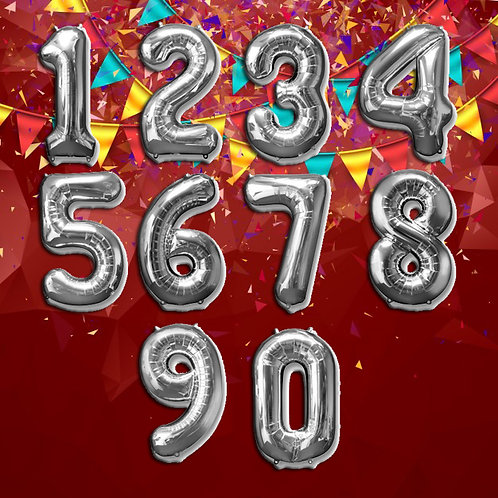Silver Number Mylar Balloons