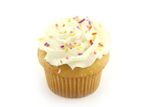 Vanilla Cupcake with Buttercream frosting and Carnival Sprinkles 4-pack