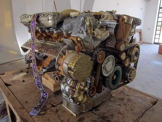 Mercedes V12 engine hand carved!