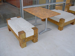 concrete and wood outdoor seating