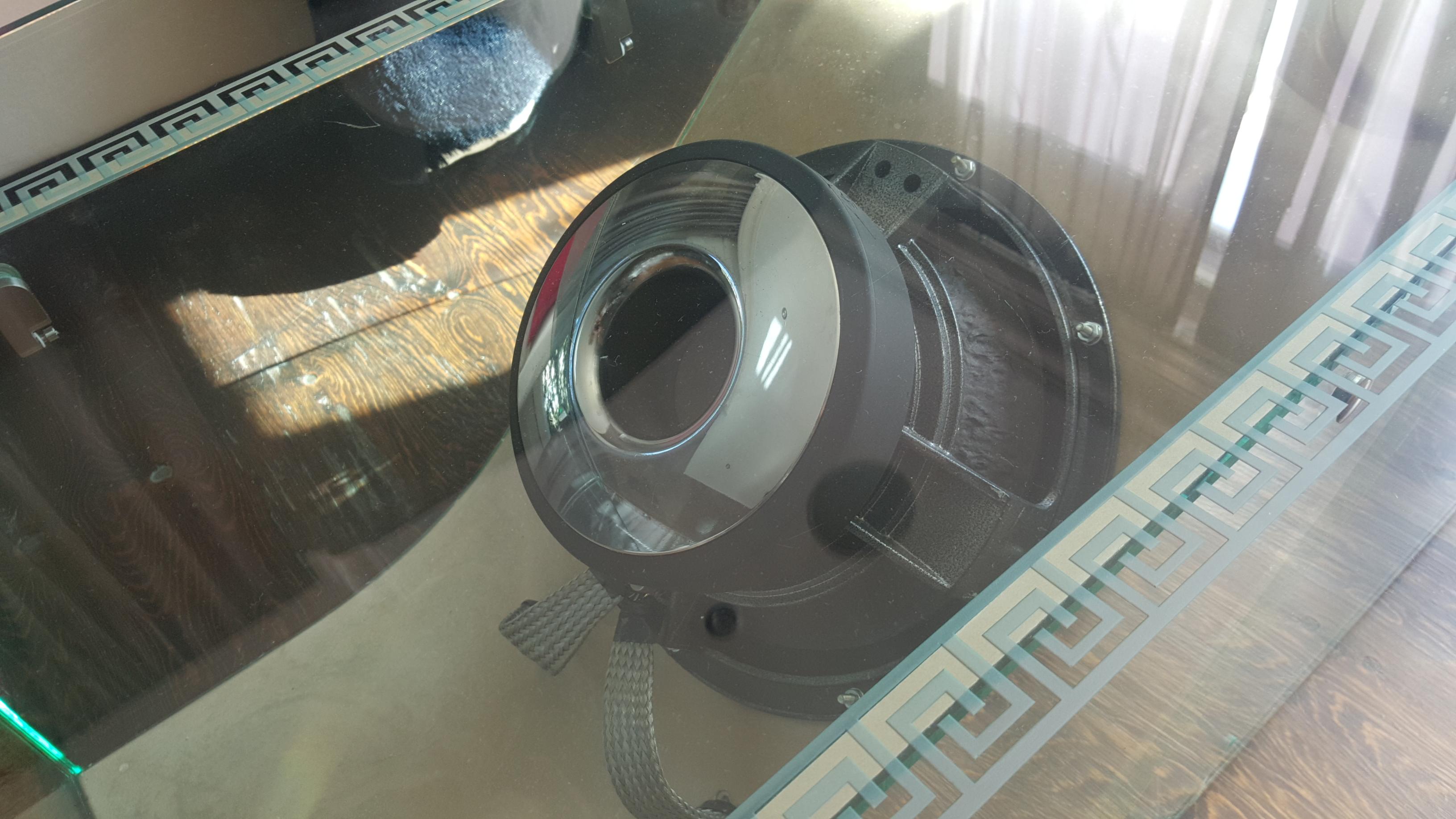 speaker glass coffee table