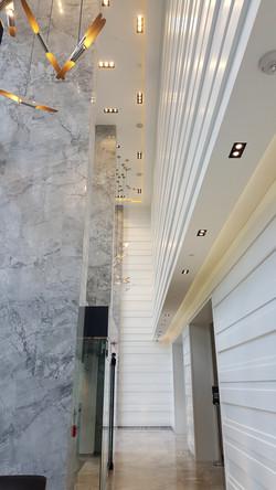 Natural marble slab column