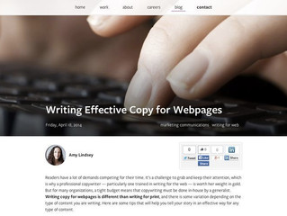 Blog Post re: Web Copy