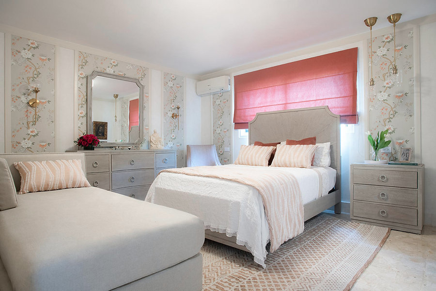 coral-bedroom-decoration-with-wallpaper-